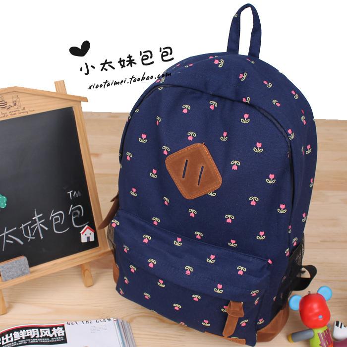 Fashion Cute Flower School Knapsacks For Teenage Girl .Sweet Harajuku Canvas Bookbag / Backpacks ,Shoulder Bags BA31(China (Mainland))