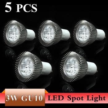 5pcs/lot Dimmable GU10 3W 5W LED Spot Light Bulb Lamp AC85~265V White/Warm White Spotlight Free Shipping