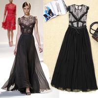 2014 New European Fashion Style Chiffon Maxi long Dress Women's Sexy Patchwork Embroidered Dress for Women Free Shipping lyq65
