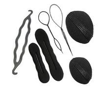 7PCS Portable Magic Hair Pattern Pull Pin Bun Maker Clip Twist Tool Hair Roller Free Shipping Black/Coffee Brown Color