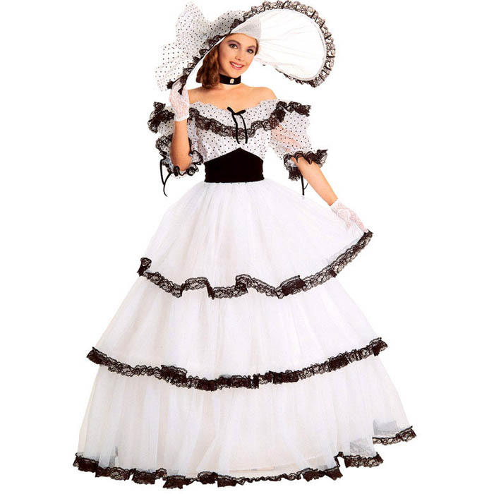 Southern Belle Costume Victorian Dress Costume Adult Halloween Costumes For Women White Civil