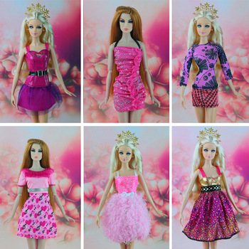 16 piece / lot Fashion Beautiful  clothes for barbie doll  6 paragraph casual dress for girl choose Free shipping