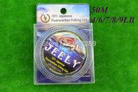 Free Shipping 50m Japanese Fluorocarbon Leader Fishing Line 4lb 6lb 7lb 8lb 9lb
