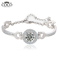 Swiss Cubic Zirconia Fashion Bracelets 18k White Gold Plated CZ Diamond Women Wedding Jewelry Coco Charm Jewelry CB007