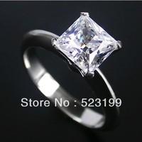 Fine Jewellery 1.24 Carat luxury Women Princess cut ring 18k white gold plated engagement SONA synthetic diamond women Jewelry