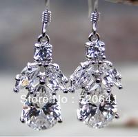 Wholesale 2.6ct Water drop synthetic diamond earrings Anti allergic earring sterling silver white gold wedding earring for women