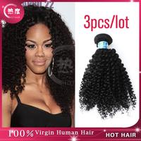 Cheap Mongolian Hair Afro Kinky Curl Human Hair Weave Grade 5A full cuticle intact Mongolian Kinky Curly Virgin Hair  3pcs lot