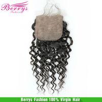 """Silk Base Closure Berrys Fashion Hair,  Peruvian Virgin Hair Deep Curly (4""""*4"""")  6A grade unprocessed hair ,120% density"""