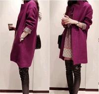 Atacado Roupa Femininas 2014 autumn winter elegant coat women's coats long woolen women Slim thick warm tops SZM0107