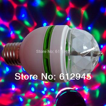 New Strobe effect E27 3W Colorful  Rotating magic Disco Ball Light 100pcs/lot mini type LED stage light