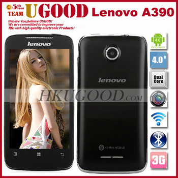 Original lenovo A390 Support Russian Cheap Android phone 4.0 Os MTK6577 Dual core RAM 512+ROM 4GB Dual SIM Card Free shipping