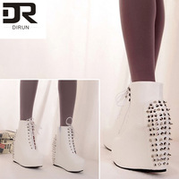 New 2013 Fashion Designer Brands Women's Personality Star Rivet Punk Side Zipper motorcycle low heel boots