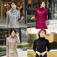2014autumn sweater women cardigan turtleneck paillette sweater thickening long pullovers sweater sweater dress supernova sale