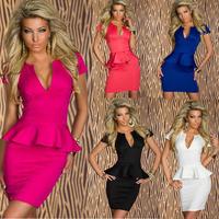 Sexy Women's Low-cut V Neck Evening Club Party Mini Dress OL Peplum Bandage Dresses Women Work Wear Plus Size Vestidos 5 Colors