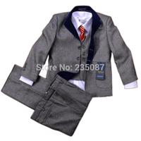 Retails(2-13Y) children suit male formal good quality child suits flower boys formal dress costume male child suit 5 pcs set