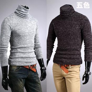 OWIND 2015 Autumn and winter men rabbit fur cashmere slim male basic turtleneck sweater