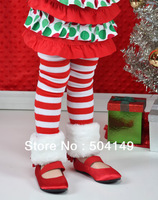 free shiping Faux Fur Red and White Striped Christmas Leg Warmers for Infants and Toddlers children leg warmers