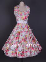 50s Vintage Retro Dress Audrey Hepburn Style Floral Printed Rockabilly Dress
