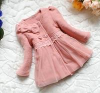 (90-120cm) 4pcs/lot 2013 new thicker warm sweatshirts, lace Children's Coat Winter Children Jacket, girls Clothes  free shipping