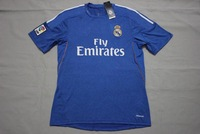 new Free Shipping top thailand quality 2014 13 14 real madrid away blue Soccer  Jersey  Soccer Shirt.