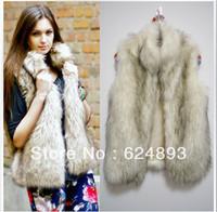 2014 New faux vest medium-long collar artificial fur coat vest free shipping