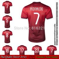 Player version embroidery logo ronaldo soccer jerseys 2014  J.MOUTINHO NANI football jersey thai quality free shipping