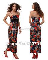 2014 summer new arrival fashion beach dress  for women high waisted Sashes maxi peacock  dress