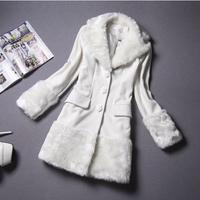 FS-0433 2014 Autumn Winter Brand New Wool Coat For Woman White Women's Outerwear Coats S M L XL
