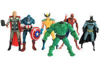 """Flash The Avengers 5"""" Captain America Wolverine Thor Spiderman Batman 14cm Action Figures Toy 6 pcs/set"""