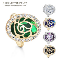 Neoglory CZ Stone Zircon Alloy 14k Gold Plated Adjustable Rings for Female Fashion Rhinestone Charm Bands Jewellery 2014 New