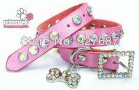 Wholesale Luxury Crystal Genuine Leather Dog Pet Collar Bone Charm Collar 6 Colors 7 Sizes XXS XL Small Dog Cat Collar12pcs/lot