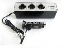Free Shipping Discount USB 3 way Car Cigarette Lighter Socket Splitter Charger car cigarette lighter
