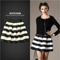 2014 new Spring winter wavy stripes skirt hit color stitching texture wild waist skirt, tutu skirt fashion high waist skirts