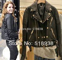 2014 Women autumn winter basic fashion real genuine Leather lambskin slim jacket quilted Motorcycle biker streetwear outerwear