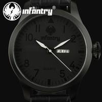 INFANTRY New Royal MEN Date Day Analog Quartz Casual Black Leather Sport Original Wrist Watch
