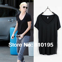Good quality Candy colored fashion slim lady's v-neck t shirt  women tshirt