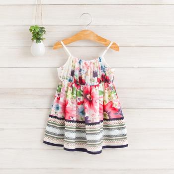 2014 New summer,girls floral slip dress,children beach dress,cotton,1-6 yrs,5 pcs / lot,wholesale kids clothing,1100