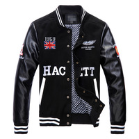 New winter high-quality leather stitching British style Slim Men Women Short Jacket Baseball Jacket embroidered letters S-XL