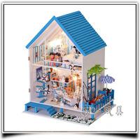 Romantic Aegean DIY House Doll Dollhouse Handmade Item Gifts Free Shipping Box Doll Home
