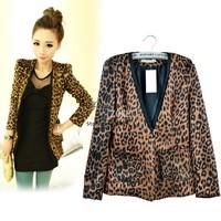 Hot Spring Autumn Women Leopard Jacket Female Suit Slim Fit One Button Blazer With Shoulder Pad Coat 3Sizes 13688