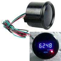 "3pcs/Lot New Universal  Car 2"" 52mm Blue LED Digital Gauge Tacho Tachometer  RPM Wholesale TK1047"