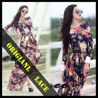 2014 spring lace maxi dresses women fashion summer vestidos long sleeve plus size floor-length slim flower vintage casual dress