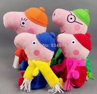 New Classic Peppa Pig Plush Peppa Pig Toy Peppa Pig Family 19~30cm 4Pcs/lot Free Shipping By HK Post