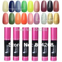 2014 Hot Free shipping Wholesale 120 Colors Nail Art Tips Glitter Color LED Lamp 10ml 5pc Soak Off UV Gel Polish