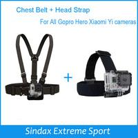 For Gopro Harness Adjustable Elastic Chest Belt+Head Stap Mount Strap w/ Plastic Buckle for Gopro Hero 4 3 2 Black Edition