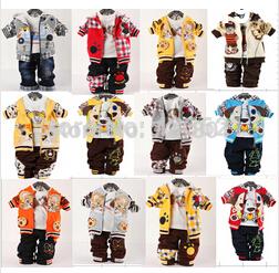 2014 Children clothing sets baby boys clothing sets boy's cute denim Children cartoon bear 3-pieces sets jacket+t-shirt+pant(China (Mainland))