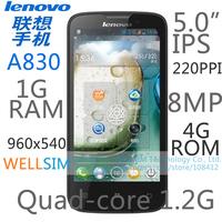 Original Lenovo A830 Multi language Mobile phone 5IPS 960x540 MTK6589 Quad core 1.2G 1G RAM 4G ROM  Android 4.2 8MP