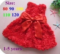 Retail 2013 New Red Flower Rose Baby Girl Princess Dress Wedding with Big Bowknot Kids Birthday Party Clothes Children Clothing