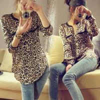 New fashion Women Wild Leopard print chiffon blouse lady sexy Long-sleeve top shirt S/M/L loose plus size V neck leopard blouse