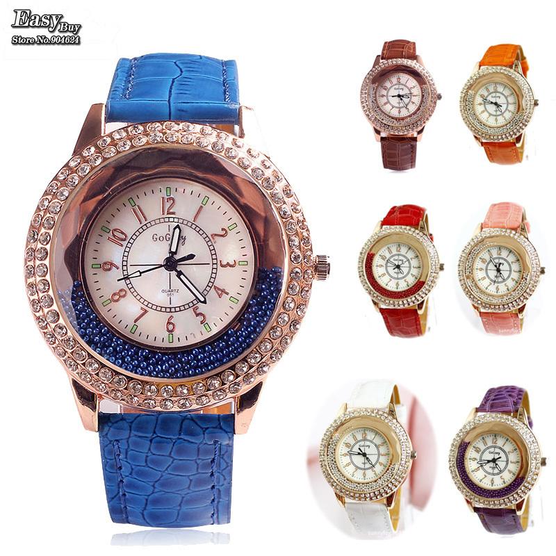Relogios New Fashion Casual Quartz Watch Clock Hours Leather Rhinestone Women Dress Watches Relojes GoGoey Brand Wristwatches(China (Mainland))